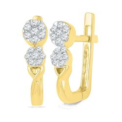 0.22 CTW Diamond Flower Cluster Hoop Earrings 10KT Yellow Gold - REF-30X2Y
