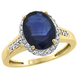 Natural 2.49 ctw Blue-sapphire & Diamond Engagement Ring 14K Yellow Gold - REF-102F7N