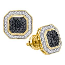 0.50 CTWBlack Color Diamond Octagon Geometric Cluster Earrings 10KT Yellow Gold - REF-34M4H