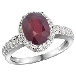 Natural 2.3 ctw Ruby & Diamond Engagement Ring 10K White Gold - REF-55N4G