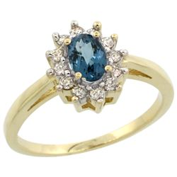 Natural 0.67 ctw London-blue-topaz & Diamond Engagement Ring 10K Yellow Gold - REF-38R9Z