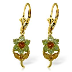 Genuine 2.12 ctw Citrine & Peridot Earrings Jewelry 14KT Yellow Gold - REF-42R4P