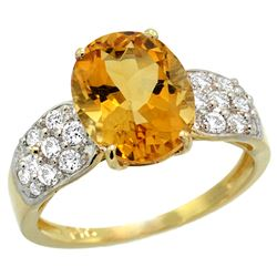 Natural 2.75 ctw citrine & Diamond Engagement Ring 14K Yellow Gold - REF-58K4R