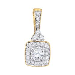 0.50 CTWDiamond Solitaire Square Pendant 10KT Yellow Gold - REF-52X4Y