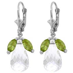 Genuine 14.4 ctw White Topaz & Peridot Earrings Jewelry 14KT White Gold - REF-46K7V