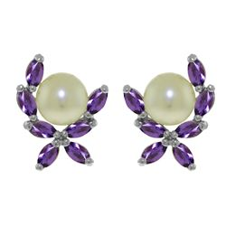 Genuine 3.25 ctw Pearl & Amethyst Earrings Jewelry 14KT White Gold - REF-30V2W