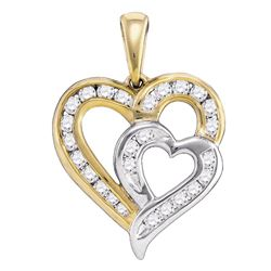 0.35 CTW Diamond Heart Love 2-tone Pendant 10KT Yellow Gold - REF-30M2H