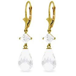 Genuine 11 ctw White Topaz Earrings Jewelry 14KT Yellow Gold - REF-39K3V