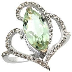 Natural 3.33 ctw Green-amethyst & Diamond Engagement Ring 14K White Gold - REF-77F5N
