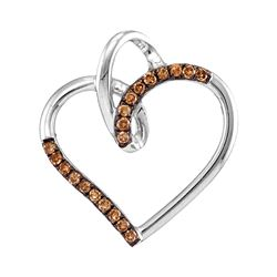 0.15 CTW Cognac-brown Color Diamond Heart Love Pendant 10KT White Gold - REF-11N2F