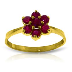Genuine 0.66 ctw Ruby Ring Jewelry 14KT Yellow Gold - REF-31X4M