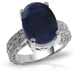 Genuine 8.5 ctw Sapphire Ring Jewelry 14KT White Gold - REF-168R3P