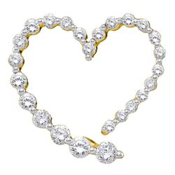 0.50 CTWDiamond Graduated Heart Journey Pendant 14KT Yellow Gold - REF-32X9Y