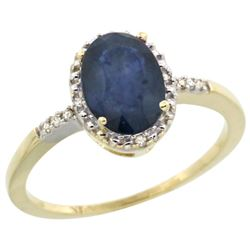 Natural 1.47 ctw Blue-sapphire & Diamond Engagement Ring 10K Yellow Gold - REF-30M3H