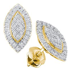 0.20 CTW Diamond Cluster Oval Stud Earrings 10KT Yellow Gold - REF-19H4M