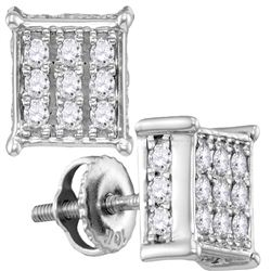0.50 CTWDiamond Square Cluster Screwback Earrings 10KT White Gold - REF-37F5N