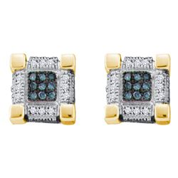 0.28 CTW Mens Blue Color Diamond Cube Square 3D Cluster Earrings 10KT Yellow Gold - REF-22F4N