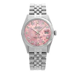 Rolex Pre-owned 36mm Mens Pink Flower Dial Stainless Steel - REF-450M2R