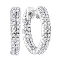 0.20 CTW Diamond Hoop Earrings 10KT White Gold - REF-14W9K