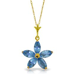 Genuine 1.40 ctw Blue Topaz Necklace Jewelry 14KT Yellow Gold - REF-25X8M