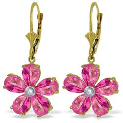 Genuine 4.43 ctw Pink Topaz & Diamond Earrings Jewelry 14KT Yellow Gold - REF-51V2W
