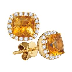 2 CTW Princess Natural Citrine Diamond Stud Earrings 14KT Yellow Gold - REF-67N4F