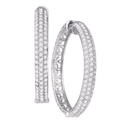"4.15 CTW Diamond Luxury 1"" Hoop Earrings 10KT White Gold - REF-299F9N"