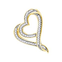 0.12 CTW Diamond Heart Love Pendant 10KT Yellow Gold - REF-13M4H