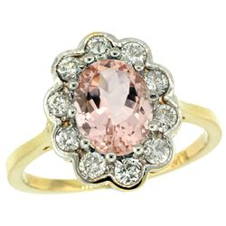 Natural 2.29 ctw Morganite & Diamond Engagement Ring 10K Yellow Gold - REF-79W3K