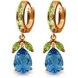 Genuine 14.3 ctw Blue Topaz & Peridot Earrings Jewelry 14KT Rose Gold - REF-82T9A