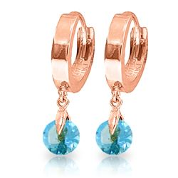 Genuine 2 ctw Blue Topaz Earrings Jewelry 14KT Rose Gold - REF-25K9V