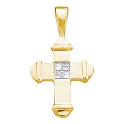 0.05 CTW Princess Diamond Cross Pendant 10KT Yellow Gold - REF-6X2Y