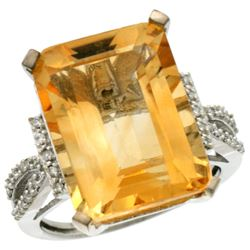 Natural 12.14 ctw Citrine & Diamond Engagement Ring 14K White Gold - REF-66M2H
