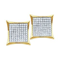0.10 CTW Diamond Square Kite Cluster Earrings 10KT Yellow Gold - REF-12K2W