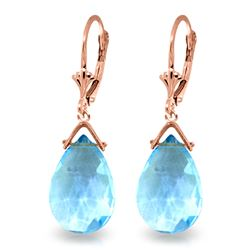 Genuine 10.20 ctw Blue Topaz Earrings Jewelry 14KT Rose Gold - REF-28V9W