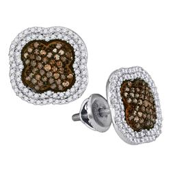 0.75 CTW Brown Color Diamond Cluster Earrings 10KT White Gold - REF-44N9F