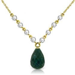 Genuine 15.6 ctw Green Sapphire Corundum & Diamond Necklace Jewelry 14KT Yellow Gold - REF-139P8H