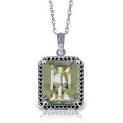 Genuine 5.55 ctw Green Amethyst & Black Diamond Necklace Jewelry 14KT White Gold - REF-68X4M