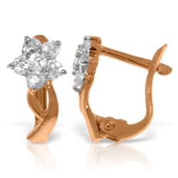 Genuine 0.40 ctw Diamond Anniversary Earrings Jewelry 14KT Rose Gold - REF-59V2W
