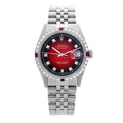 Rolex Pre-owned 36mm Mens Red Vignette Stainless Steel - REF-580Y2W