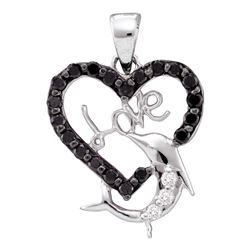 0.40 CTW Black Color Diamond Dolphin Heart Love Pendant 14KT White Gold - REF-20X9Y