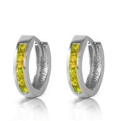 Genuine 1 ctw Peridot Earrings Jewelry 14KT White Gold - REF-37F4Z