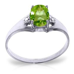Genuine 0.76 ctw Peridot & Diamond Ring Jewelry 14KT White Gold - REF-20A8K