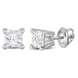 0.48 CTW Princess Diamond Solitaire Stud Earrings 14KT White Gold - REF-52W4K