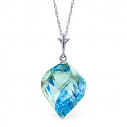 Genuine 13.9 ctw Blue Topaz Necklace Jewelry 14KT White Gold - REF-41A3K
