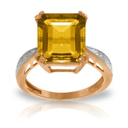 Genuine 5.62 ctw Citrine & Diamond Ring Jewelry 14KT Rose Gold - REF-82H9X