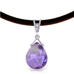 Genuine 6.51 ctw Amethyst & Diamond Necklace Jewelry 14KT White Gold - REF-26F9Z