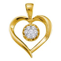 0.25 CTW Diamond Heart Love Cluster Pendant 14KT Yellow Gold - REF-41F9N