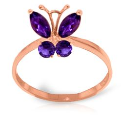 Genuine 0.60 ctw Amethyst Ring Jewelry 14KT Rose Gold - REF-28M9T