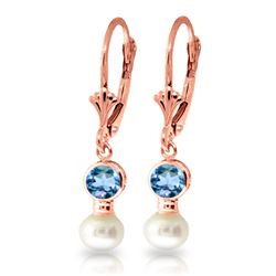 Genuine 5.2 ctw Blue Topaz & Pearl Earrings Jewelry 14KT Rose Gold - REF-35F9Z